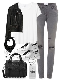 """Outfit with a leather jacket and grey jeans"" by ferned ❤ liked on Polyvore featuring Frame Denim, Zara, Michael Kors, Alexander Wang, Casetify, Cartier and Yves Saint Laurent"