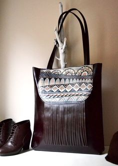 Leather Tote Bag Hand Painted Doodled Fringed by BarbaLeatherWorks