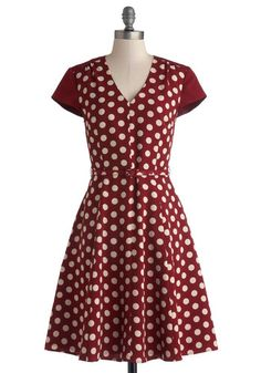 Give It All You Dot Dress by Myrtlewood - Private Label, Woven, Mid-length, Red, White, Polka Dots, Pockets, Belted, Casual, A-line, Cap Sle...
