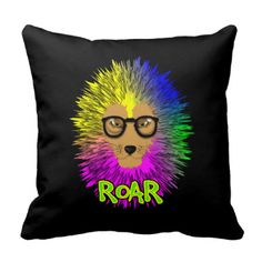 A fabulous illustration of a lion; king of the jungle with a big hairy main in bold psychedelic rainbow colors. A bright bold popping throw pillow.