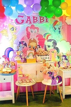 Check out this colorful My Little Pony party! The dessert table is stunning! See more party ideas and share yours at CatchMyParty.com #catchmyparty #partyideas #mylittlepony #mylittleponyparty #desserttable My Little Pony Birthday Party, Girls Birthday Party Themes, Unicorn Birthday Parties, Birthday Party Favors, Glitter Birthday, Little Poney, Alice, Party Ideas, Colorful