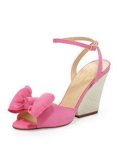 iberis bow wedge sandal, zinia pink by kate spade new york at Neiman Marcus.