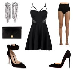 """""""Party / Girl's Night out / Date Night Outfit"""" by xolafkax on Polyvore featuring Boohoo, Gianvito Rossi, Christian Louboutin, Yves Saint Laurent and Victoria Beckham"""