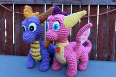 Crochet your own little pair of dragons, inspired by the Spyro the Dragon video games! Cute, cuddly, and fire-breathing! This lovely duo promises not to burn down your home.