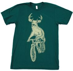 Unisex Urban BICYCLE TSHIRT Deer on a Bike Unisex American Apparel  Forest T-Shirt. $21.00, via Etsy.