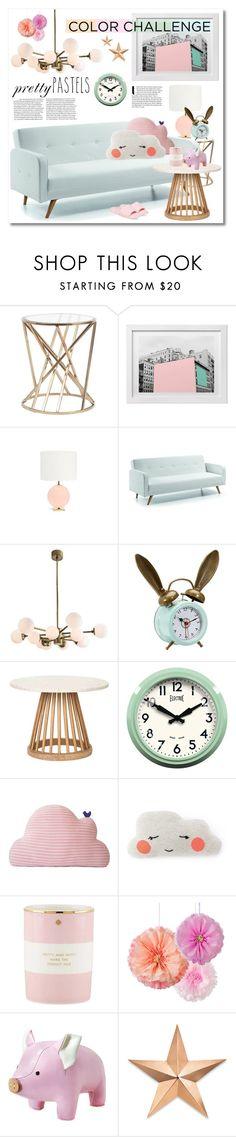 """""""Color Challenge: Pretty Pastels"""" by miee0105 on Polyvore featuring interior, interiors, interior design, home, home decor, interior decorating, Kate Spade, Arteriors, PBteen and Tom Dixon"""