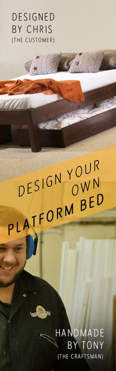 Design your own Wooden Platform Bed Frame at Get Laid Beds. Get creative with a 'made to order' service. Start with the style, choose your size and pick from over 16 finishes, including hardwoods such walnut or oak.  Many other bespoke options and all beds are handmade in England with an 11 Year Guarantee. www.getlaidbeds.com