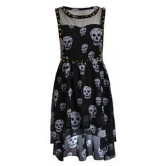 Tanya Skull Print Mesh Insert Studded Asymmetric Dress. --- uhm my names in the title its obviously made for me.