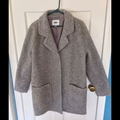 Sweater coat Grey sweater coat.  Lined, pockets, snap closures. Worn once. Old Navy Jackets & Coats