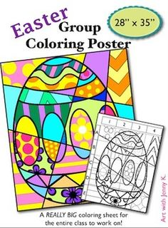 Easter Pop Art Group Coloring Poster