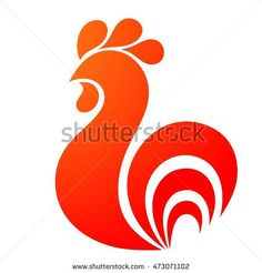 Rooster icon. Rooster logo. Red fire rooster as symbol of new year 2017 in Chinese calendar. Abstract illustration of rooster, vector design element for new year 2017 greeting cards, posters, flyers