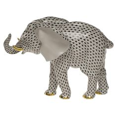 Herend Large Elephant in Black Fishnet Standing w up Trunk Hand Painted Porcelain Figurine w gold accents. Porcelain Dolls For Sale, Fine Porcelain, Painted Porcelain, Hand Painted, Porcelain Tiles, Porcelain Jewelry, Japanese Tea Set, Glass Figurines, Elephant Art