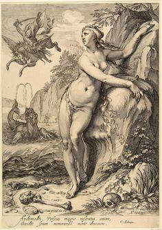 Andromeda - graficus: Saenredam, Jan Pietersz. ontwerper: Goltzius, Hendrick
