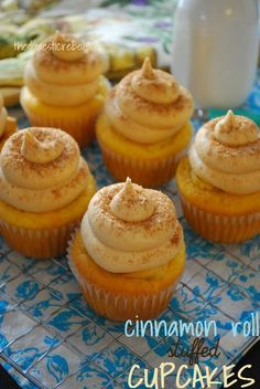 Cinnamon Roll-Stuffed Cupcakes-have to scroll a bit for the recipe but it's there.