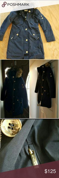 """Michael kors Navy Military Parka Size XS  Color: Navy   Good to fair condition, worn one season and has been in storage since.   Collar to bottom: approximately 35"""" Sleeve approximately 22"""" Michael Kors Jackets & Coats Puffers"""