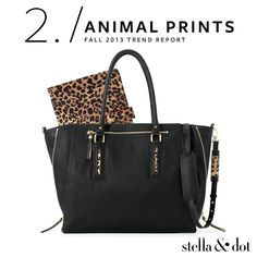 Fall 2013 Trend Report - Trend # 2: Animal Print From leopard to snakeskin, animal prints are fall's favorite wild card. Both exotic and neutral, they add sophistication to feminine silhouettes. http://www.stelladot.com/shop/en_us/featured-shops/fall-trends/animal-prints?s=ChantalleMillman