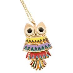 Retro Rainbow Color Owl Necklace