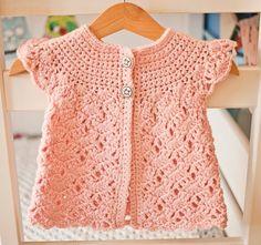 Zara Sleeveless #Crochet Cardigan pattern for sale from @monpetitviolon; what an adorable option for little girls!