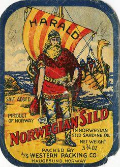 Harald Sardines vintage label can label Vintage Tins, Vintage Labels, Vintage Art, Retro Poster, Vintage Packaging, Vintage Fishing, Old Ads, Nordic Design, Vintage Travel Posters
