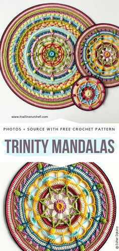 Floral Crochet Mandalas Free Patterns Trinity Mandalas Free Crochet Pattern Learn th Crochet Coaster Pattern, Crochet Mandala Pattern, Crochet Cross, Crochet Patterns, Skirt Patterns, Coat Patterns, Blouse Patterns, Sewing Patterns, Crochet Gifts