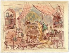 Concept art for Tangled by Claire Kean