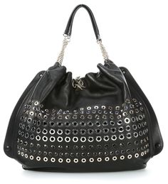 wardow.com -  #bag #rock #nieten #SoniaRykiel Domino Beuteltasche Leder schwarz 46 cm