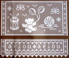"""Da revista """"Croché arte e tradição"""", uma cortina com motivos infantis.  manela"""