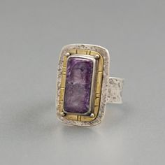 Charoite Ring sterling silver band brass mixed metal