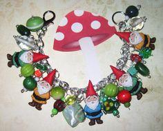 Gnome Charm Bracelet Garden Gnome Bracelet Gnome Jewerly by Jynxx
