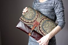 Large Leather fold over clutch fold over bag by VitalTemptation