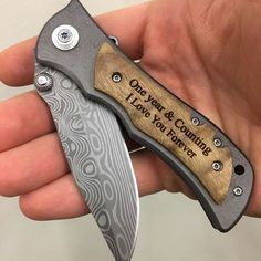 One year & counting, I love you forever, engraved wood handle pocket knife, anniversary gift for husband, gift for boyfriend, personalized pocket knife.