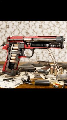 The inner workings of a Colt .45 1911 handgun. Sweet!