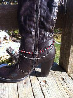 Women Red Faux Leather Boot Bracelet Western Shoe Flower Charm Wrap Around Tie