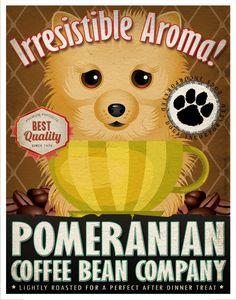 Pomeranian Coffee Bean Company Original Art Print - Custom Dog Breed Art - 11x14. $29.00, via Etsy.