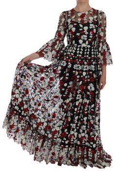 bebe6537106 Dolce Gabbana Black Chamomile Roses Embroidered Long Formal Dress Size 2  (XS). Free shipping