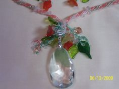 Peach and Green Reflextions Necklace and Earring by gartenglitz, $21.00