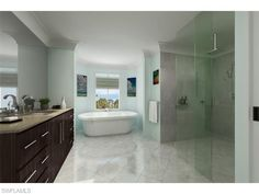 969 S 8th AVE #101, Naples, FL 34102 | Coastal contemporary bathroom with frameless glass walk in shower and soaking tub in Olde Naples | Naples Coastal Contemporary Homes for Sale
