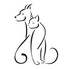 Resultado de imagem para dog and cat tattoo Cat And Dog Drawing, Cat And Dog Tattoo, Dog Tattoos, Cat Tattoo, Animal Tattoos, Line Drawing, Cat Silhouette Tattoos, Memorial Tattoos, Dog Logo
