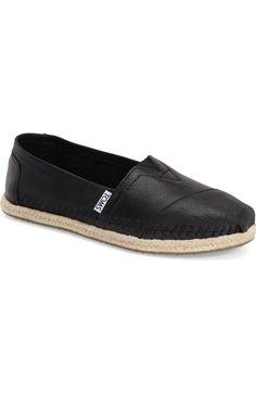 Main Image - TOMS 'Classic - Leather' Espadrille Slip-On (Women)