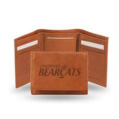 Cincinnati Bearcats Tri-Fold Wallet (Pecan Cowhide)