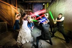 A light saber battle with the bridal party? HELL YEAH | Salt & Pine Photography
