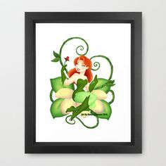 Poison Ivy  Framed Art Print by Katie Simpson  - $34.00Here is vector Pinup Poison Ivy from Batman the Animated Series.  (DC)