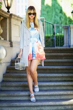 Ice blue jacket with dress Best Fashion Blogs, All Fashion, Party Fashion, Types Of Fashion Styles, Women's Fashion Dresses, Fashion Trends, Estilo Blogger, Romantic Outfit, Fashion Gallery