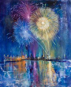 Inpursuing the inspiration to draw fireworks Saatchi Online Artist: Nikolay Dimitrov; Firework Painting, Fireworks Art, Ecole Art, Pretty Art, Abstract Art, Abstract Paintings, Oil Paintings, Painting Art, Landscape Paintings