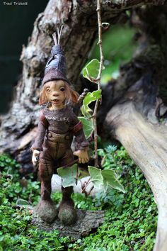 OOAK elf sculpture polymer clay art doll garden by Feythcrafts