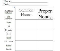 Common/Proper nouns  Free Download!  PLEASE LEAVE FEEDBACK!