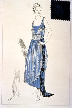 Drawing of art deco/flapper evening gown, 1920s, A and L Tirocchi