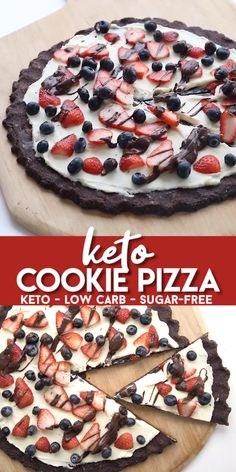 Keto Cookie Pizza Easy keto dessert pizza with a chocolate cookie crust, a sugar-free cream cheese frosting and fresh berries. It's the perfect low carb dessert for any occasion. Desserts Keto, Keto Dessert Easy, Keto Friendly Desserts, Sugar Free Desserts, Easy Desserts, Dessert Recipes, Holiday Desserts, Summer Desserts, Easter Recipes