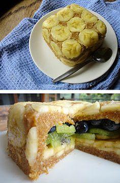 Upside down cake - No flour, no baking, no sugar. Add any fruit you'd like