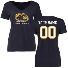 Kent State Golden Flashes Women's Personalized Football Slim Fit T-Shirt - Navy - $37.99